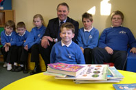 Richard Bacon MP and pupils at Brockdish Primary School Open Day