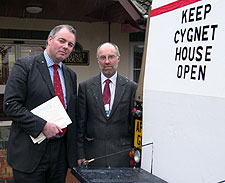 Richard Bacon MP and local councillor Martin Wilby take the campaign out on the road
