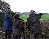 IMAGE: Richard Bacon (left) is shown the lay of the land by Peter Cherry (right) and Jane Knights (centre)