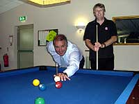 POT LUCK: Richard Bacon MP (left) challenges Richard Pacy to a game of American pool at Diss Cue Club.